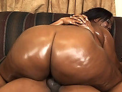 Ebony BBW beauty lets a stud drill her plump ass black chubby porn
