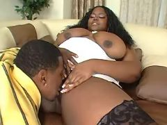 Chubby ebony slut seduces black guy